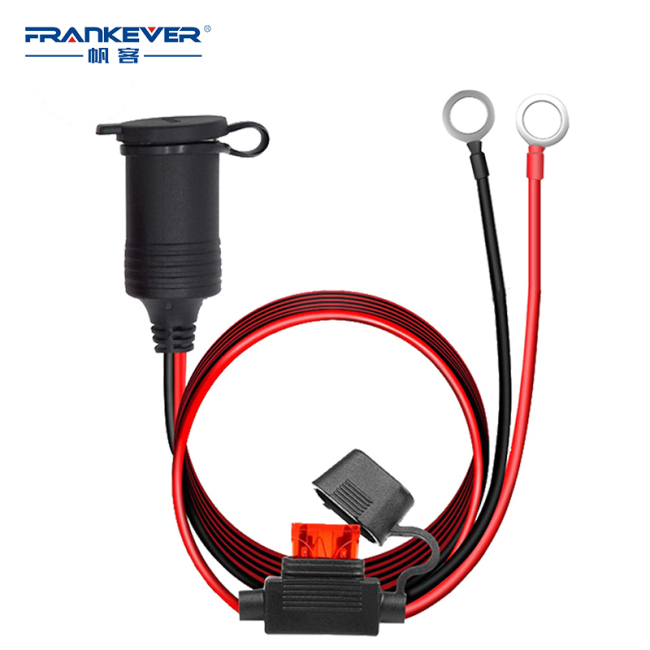 waterproof spt-2 ring terminal car cigarette lighter socket car adapter plug for car with 15A injection fuse