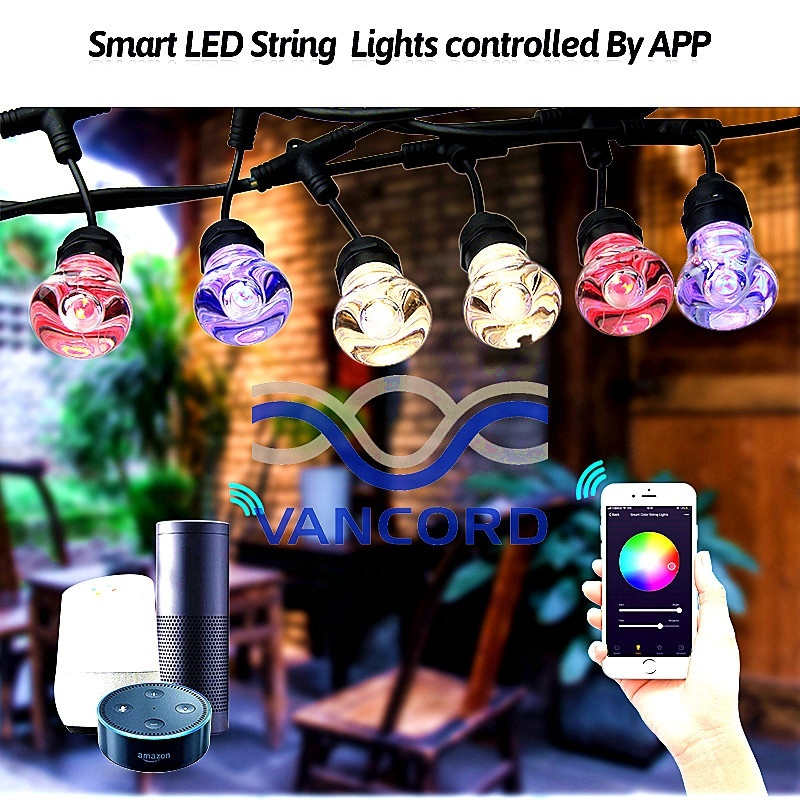 app wifi remote control waterproof outdoor led string light in garden