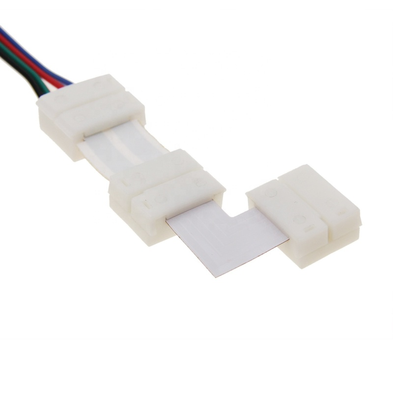 HX-FKN12-90 4 Pin 12mm L shape solderless led strip corner connector for LED strip light
