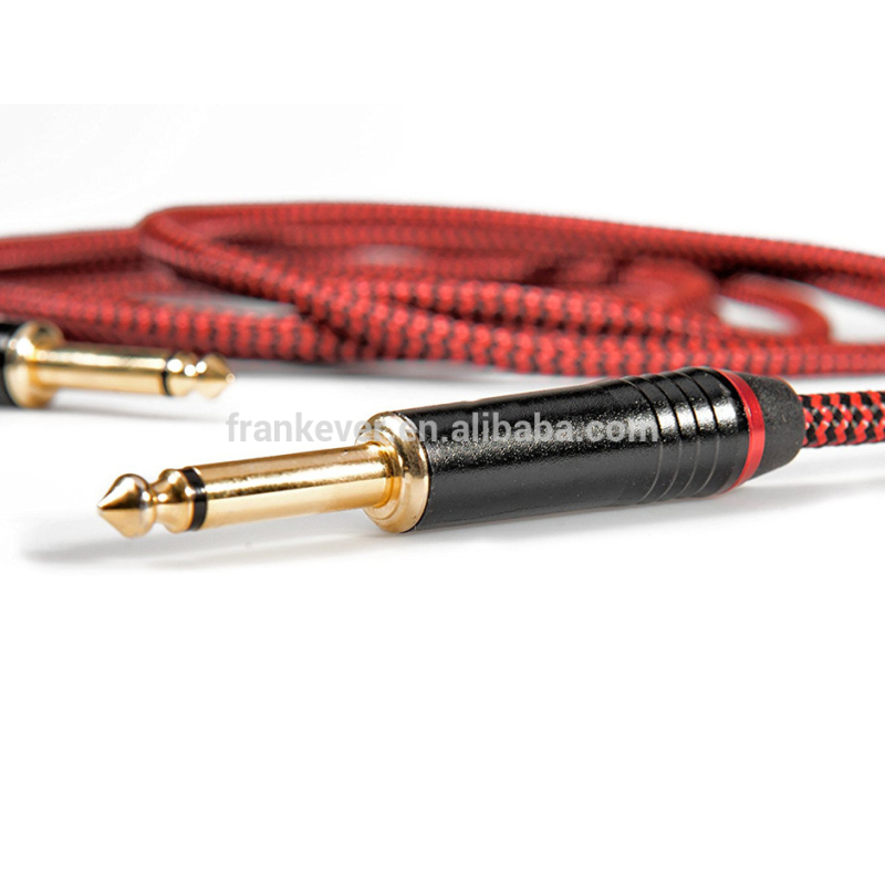 Red Tweed Woven 6.35mm Guitar Cable Musical Instrument Audio Cable Customization