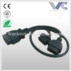 OBD2 Male to Dual Female Y Cable Extension Cable for Automotive Diagnostic OBD ii 1ft