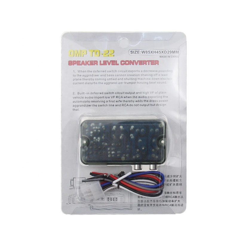Auto Car RCA High to Low 2-Channel Line Output Converter for Adjustable Subwoofer Level Car Amplifier