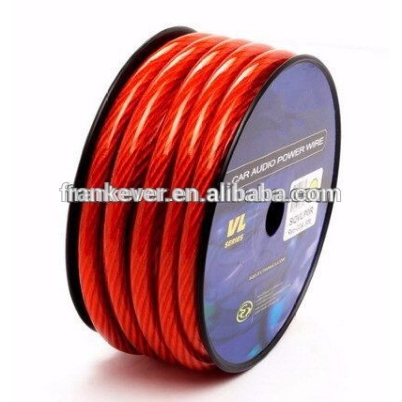 000/00/0/2/4/6/8/10 AWG Transparent Colored PVC car audio power cable wire