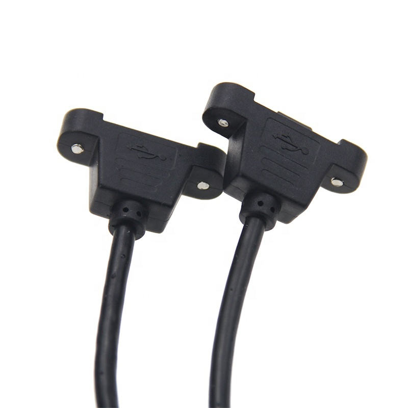 HOT 1.6 Feet Micro USB Male to Female Extension Panel Mount Type Cable with Screws, Data+Charge ,Black