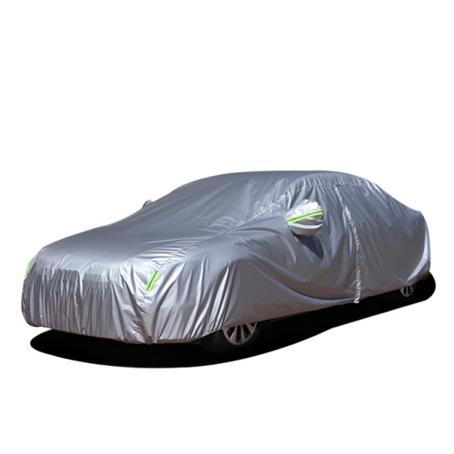Rainproof Waterproof silver coated polyester taffeta Zipper Door Car Cover with Reflective Stripe