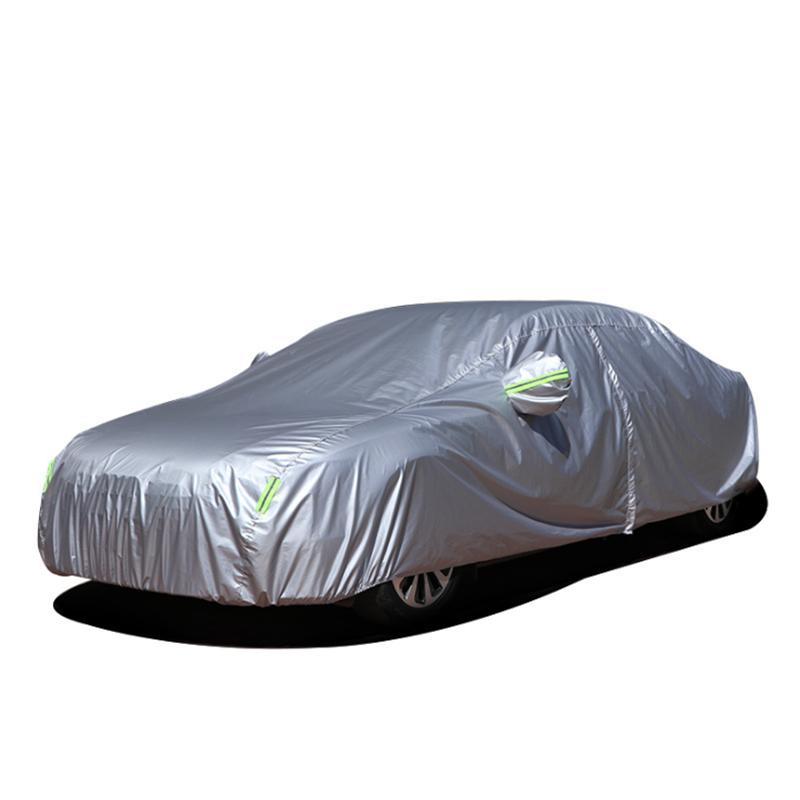 Rainproof Waterproof silver coated polyester taffeta Zipper Door Car Cover with Reflective Stripe