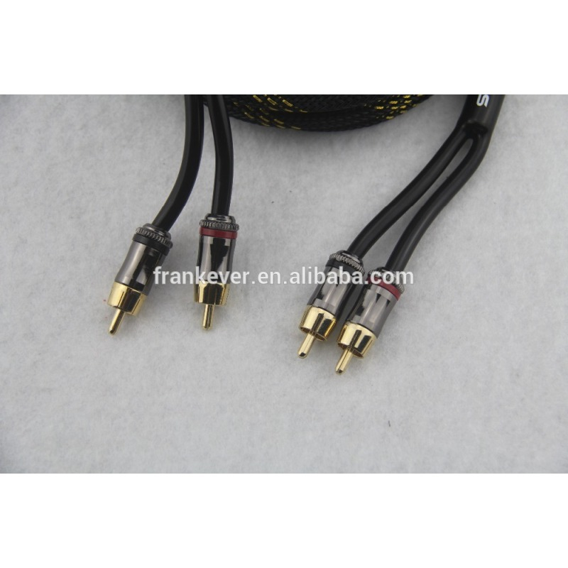 New design Slim Metal connector braided shield RCA cable