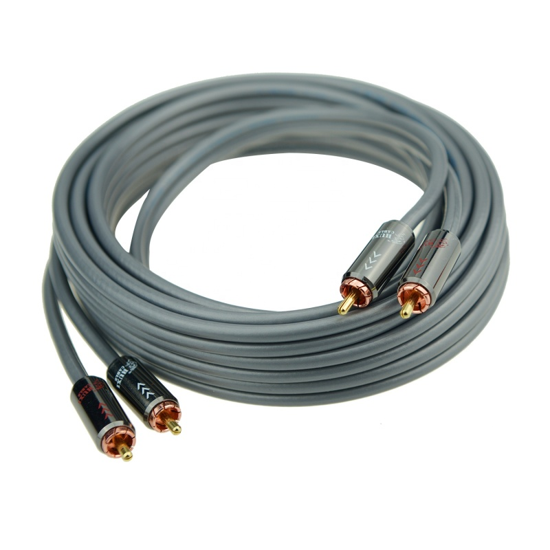 Factory prices RCA cable male to male 5M rose gold plated connector audio wire