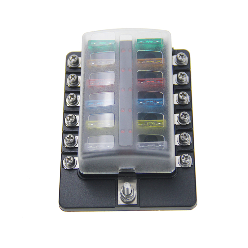 12 Way Screws Circuit with indicator light car auto Blade fuse holder inline fuse holder automotive