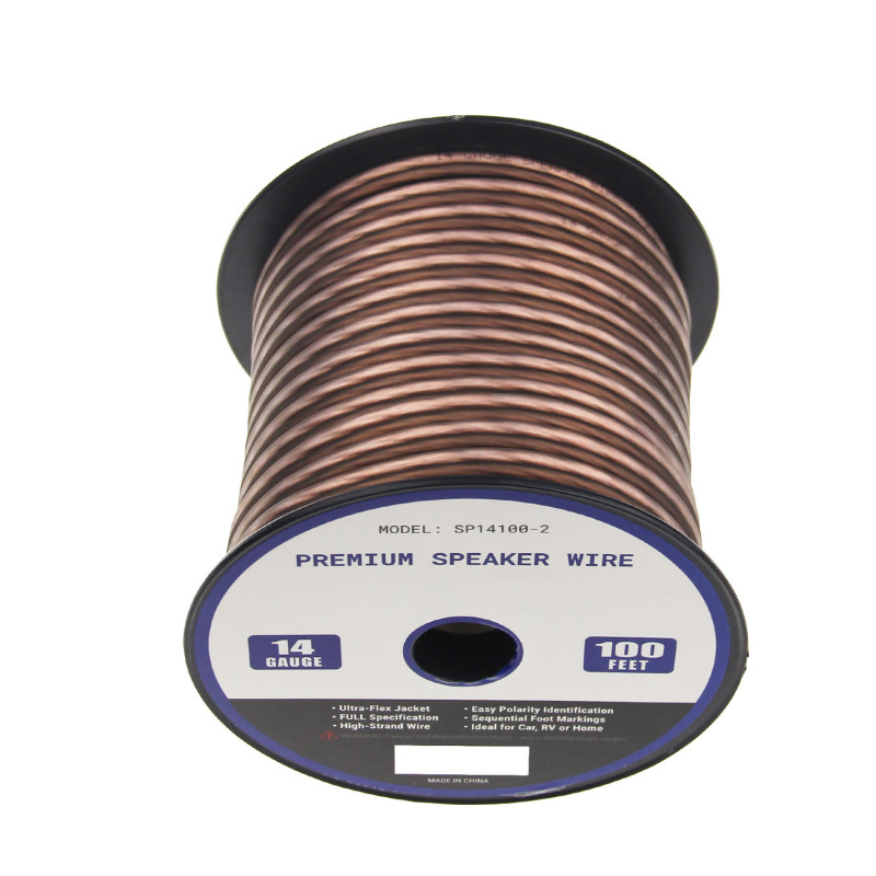 High quality frosted flexible transparent speaker cables paired 14 AWG speaker cables and wires