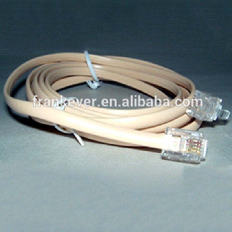 Cat 3 flat telephone cable 4p4c 6p6c 6p4c with connector networking cable