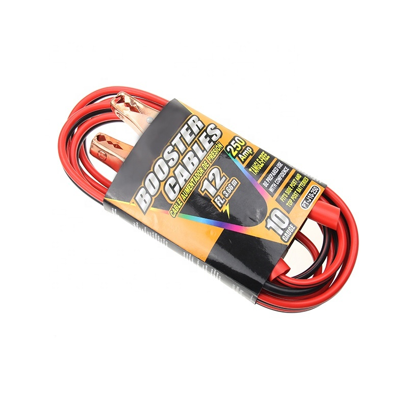 10GA 12FT Battery Charger Alligator Clips Booster Cable with Clamps 2 Pairs