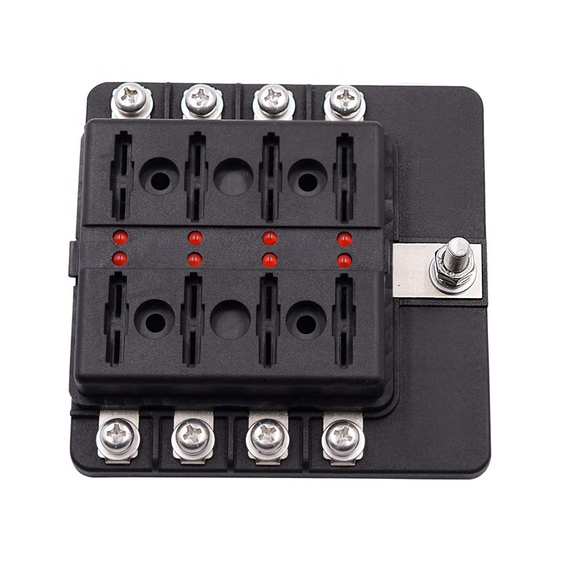 12 Volt LED Warning Indicator Damp-Proof Cover 8 Way Waterproof Fuse Block for Car Boat Marine Truck