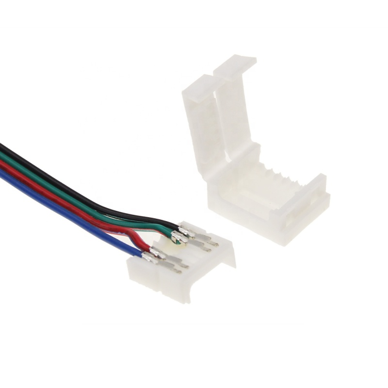 2020 New style 12mm fast connected 4 pin rgb led strip connector for corner connection