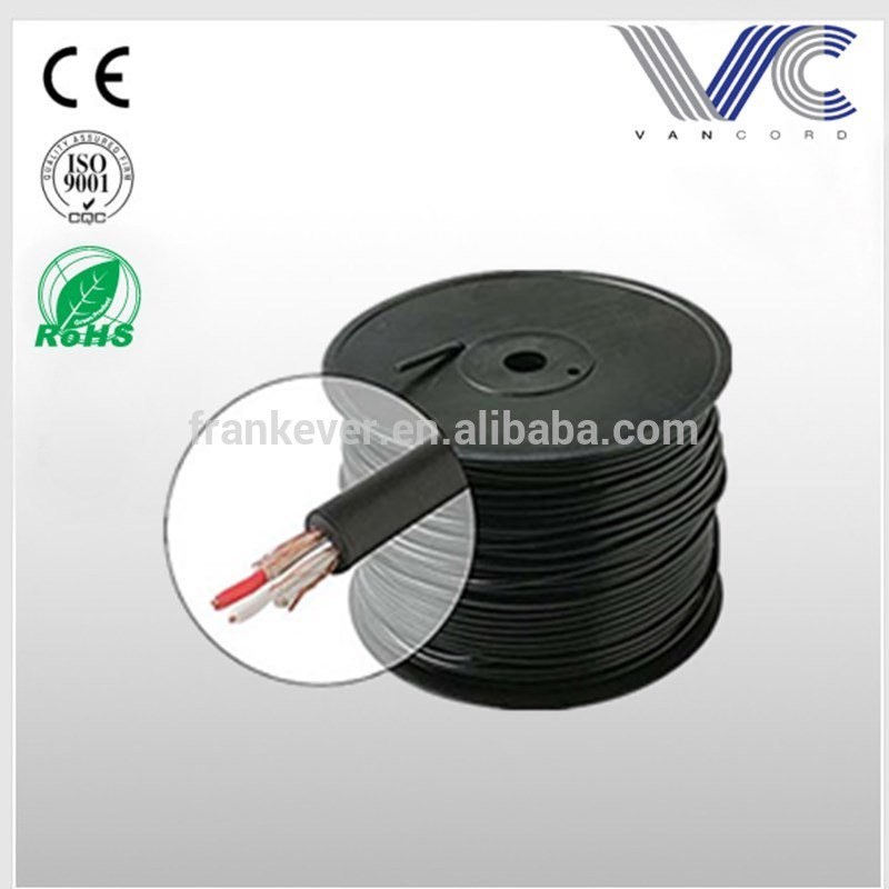 Bulk Microphone Line Cable 22 AWG Black 2 Conductor Copper Shield Ultra Flexible Microphone Cable