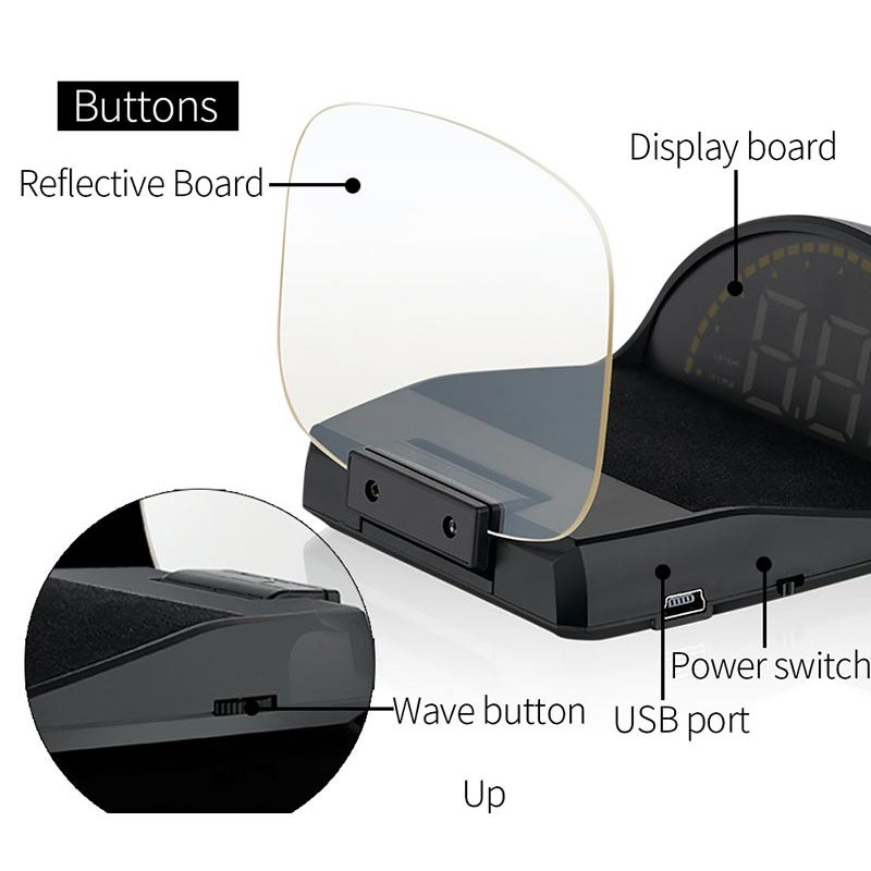 5inch OBD2 Car Diagnostic Tool Car HUD Mirror Head Up Display Speed RPM Volt Water Temp