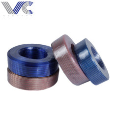 round and square frosted flexible transparent parallel copper conductor blue and white speaker cable