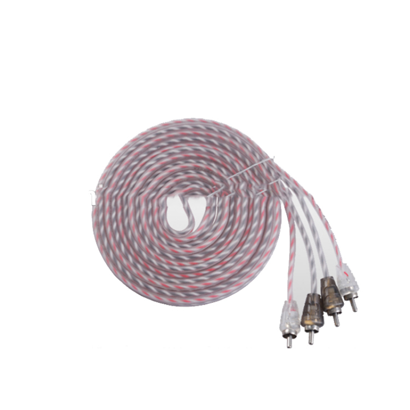 Flexible 5mm PVC 2R To 2R RCA Cable car audio cable