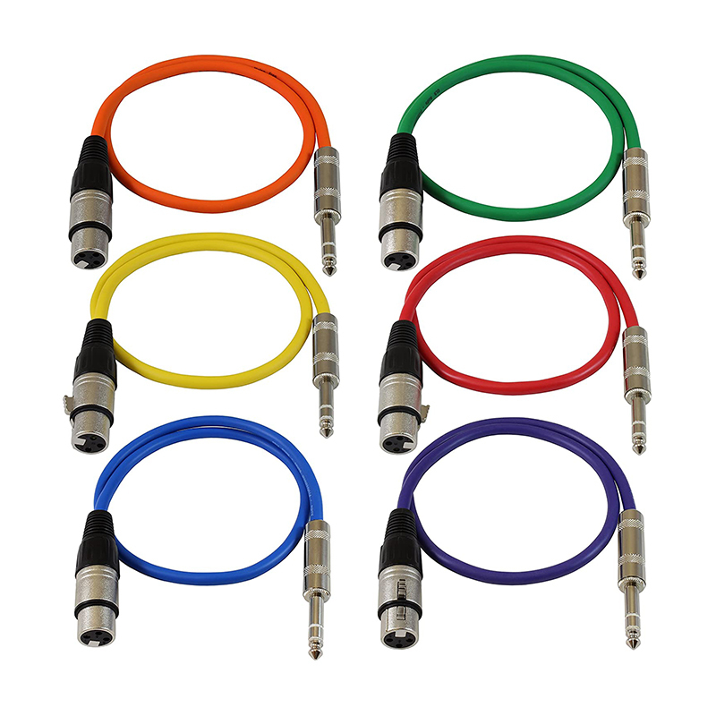 1ft Patch Cable Cords - XLR Female to 1/4