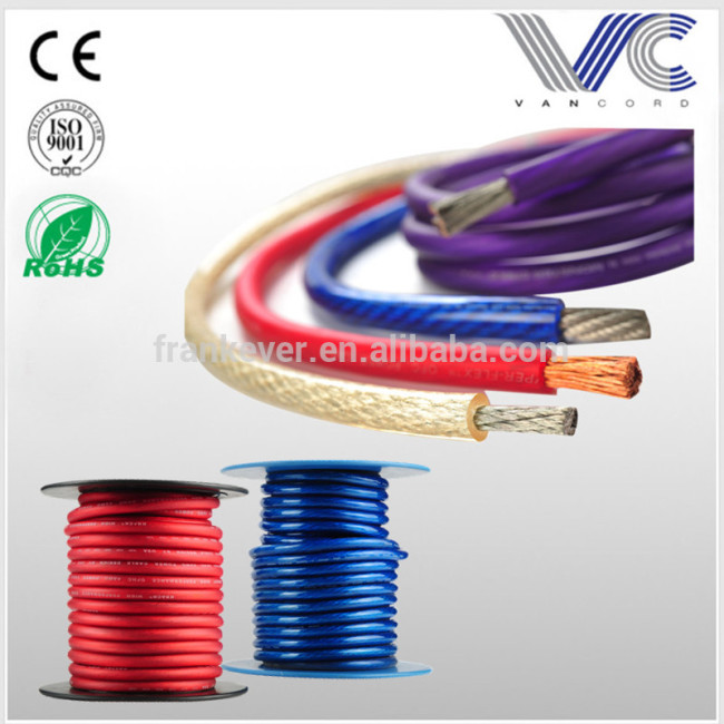 0/4/8 AWG PVC Jacket Solid Copper Conductor Car Audio Power Cable