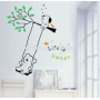 babies wall stickers playing on a swing with bear wall sticker