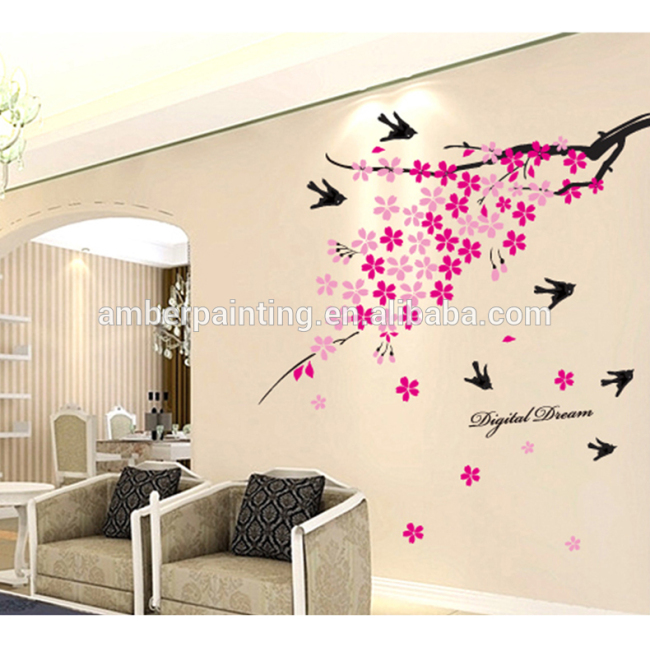 wall stickers for hall pink flower wall stickers decoration for wall