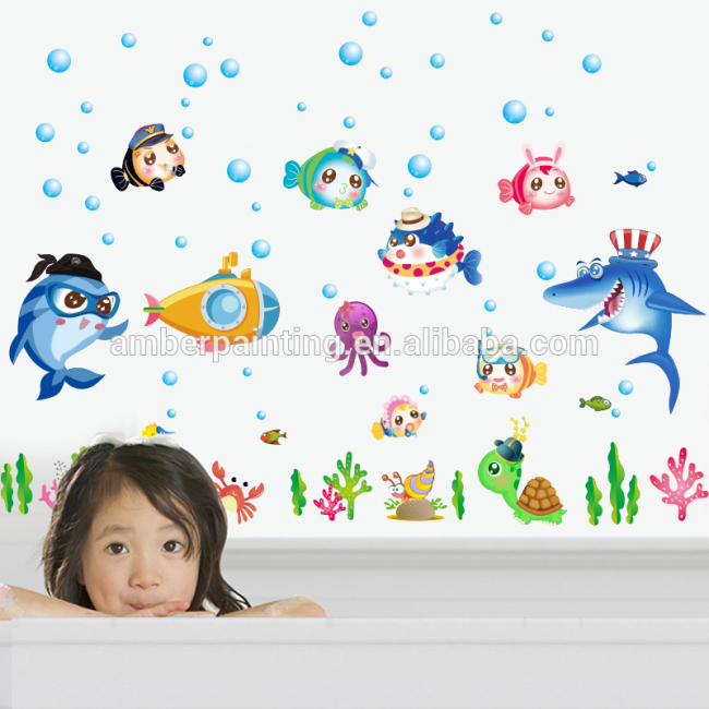 ocean 3d sea life animal shark wall decals for baby shower time