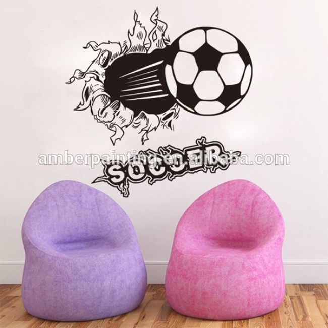 Home decoration custom size kids PVC 3d soccer wall sticker