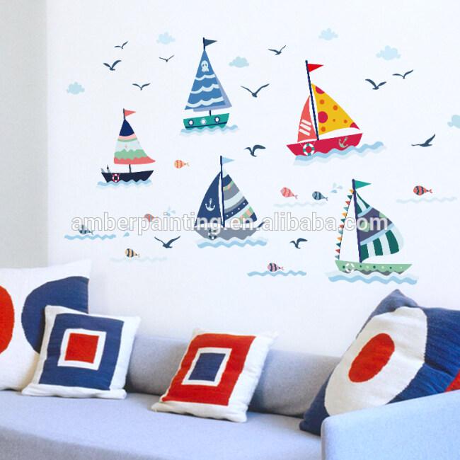 big bedroom wall decals sail boats environmental protection PVC sticker