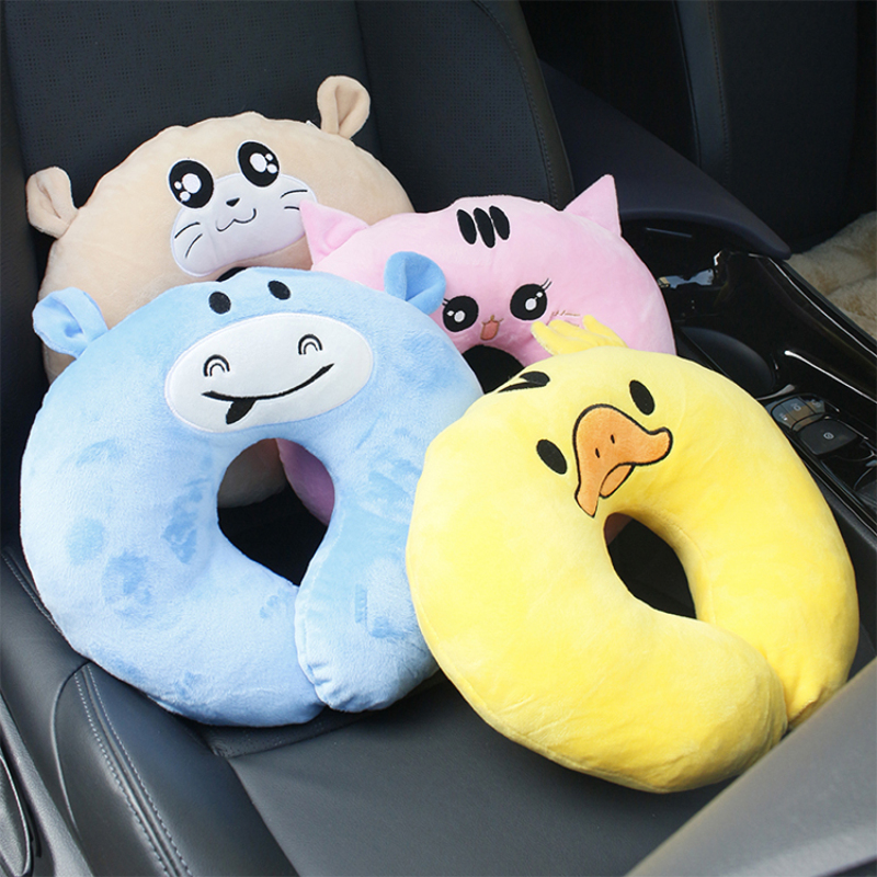soft cartoon baby head support and u shape travel neck support pillow for car seat