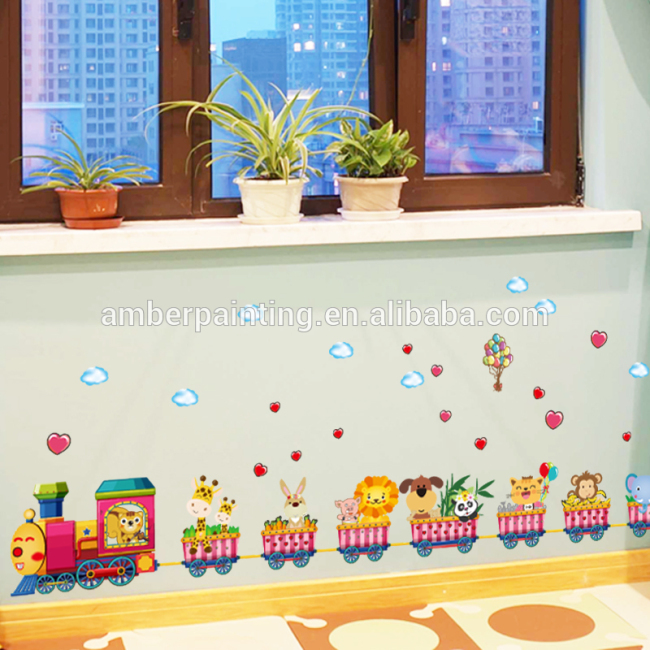 non-toxic animal train living room wall decals home decoration