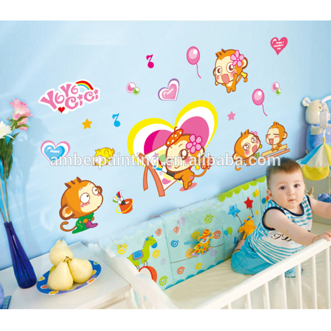 wall sticker for kids room decoration cute monkey wall stickers