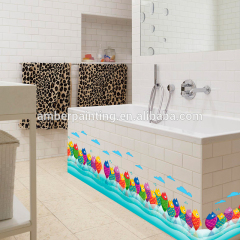 wallsticker 3d colorful fish white bathroom wall decals for baby