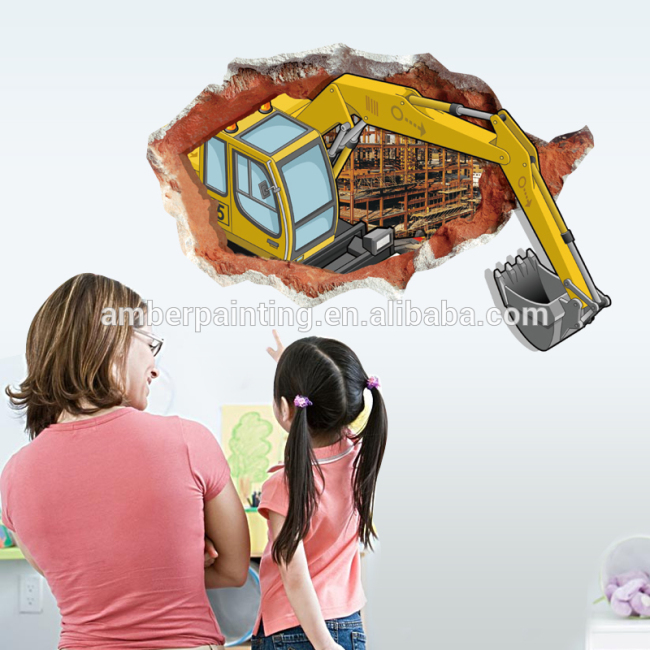 3d boys excavator friends wall decals friends decor wall sticker