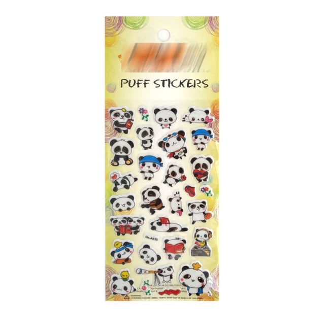 3d reusable self-adhesive puffy cute panda stickers for boys