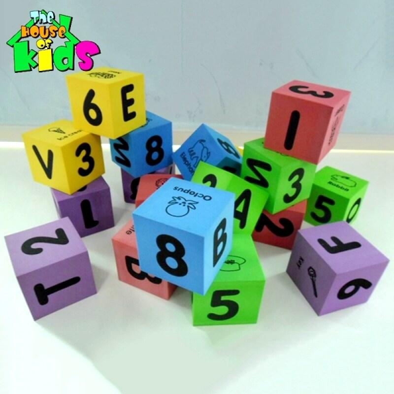 New design kids toys educational letter number eva foam dice