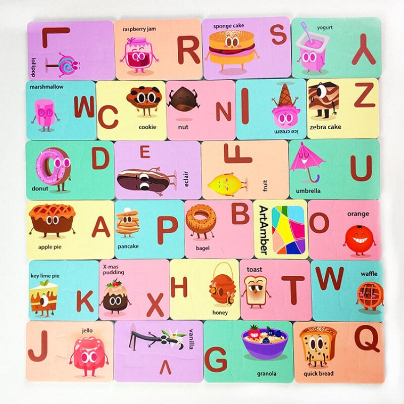 Baby EVA foam puzzle bath toy for children with alphabet food dessert