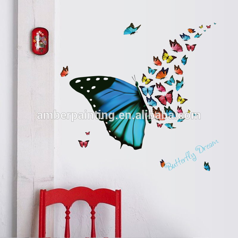 Fashion decor wall sticker colorful black butterfly wall decals