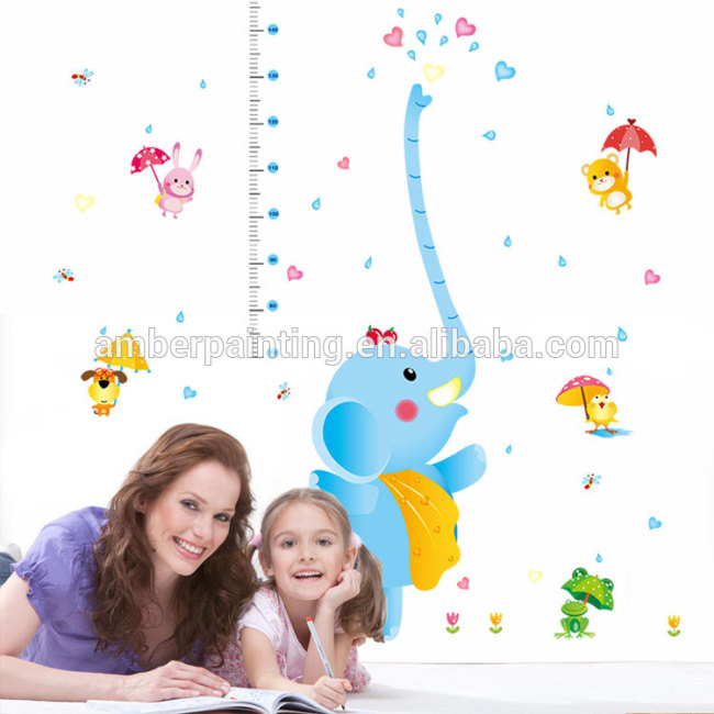 3d rabbit happy elephant wall decals DIY decorative for kids room