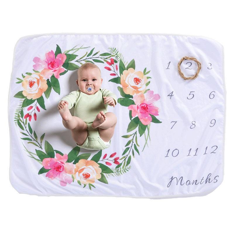 Custom high quality newborn baby monthly growth milestone blanket photog