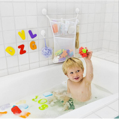 amazon top seller mesh bags Quick Dry Bathtub Mesh Net Massive Baby Toy Storage Holder Bath Toy Organizer With Sticker Hooks