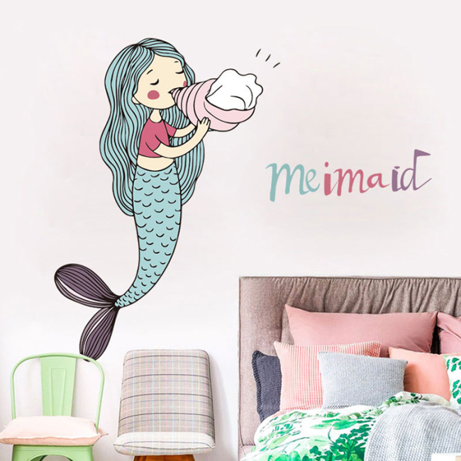 Amazon hot sale mermaid girls wall sticker for kids bedroom