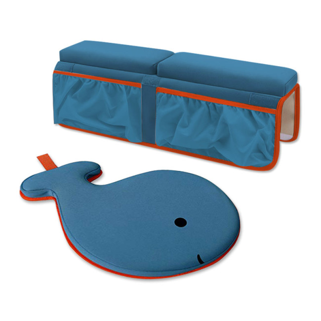 Factory Custom baby easy bath kneeler whale animals and elbow pad set