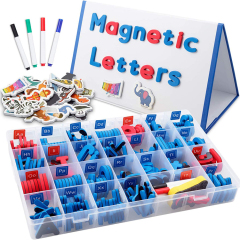 Small foldable kids double sided magnetic  dry eraser whiteboard with magnetic alphabet letters and numbers set