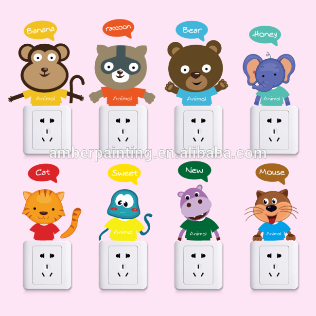Fancy decorative animal cartoon wall decals light switch for kids