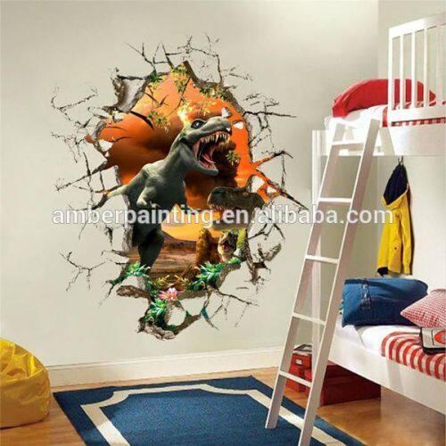 Designed home decoration 3d dinosaur wall paper sticker for kids