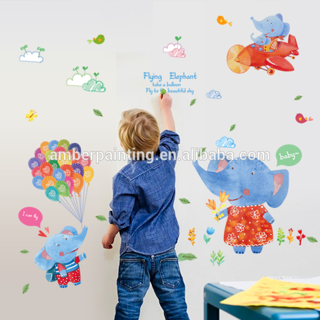 wall decals jungle elephant with balloon animals girls nursery