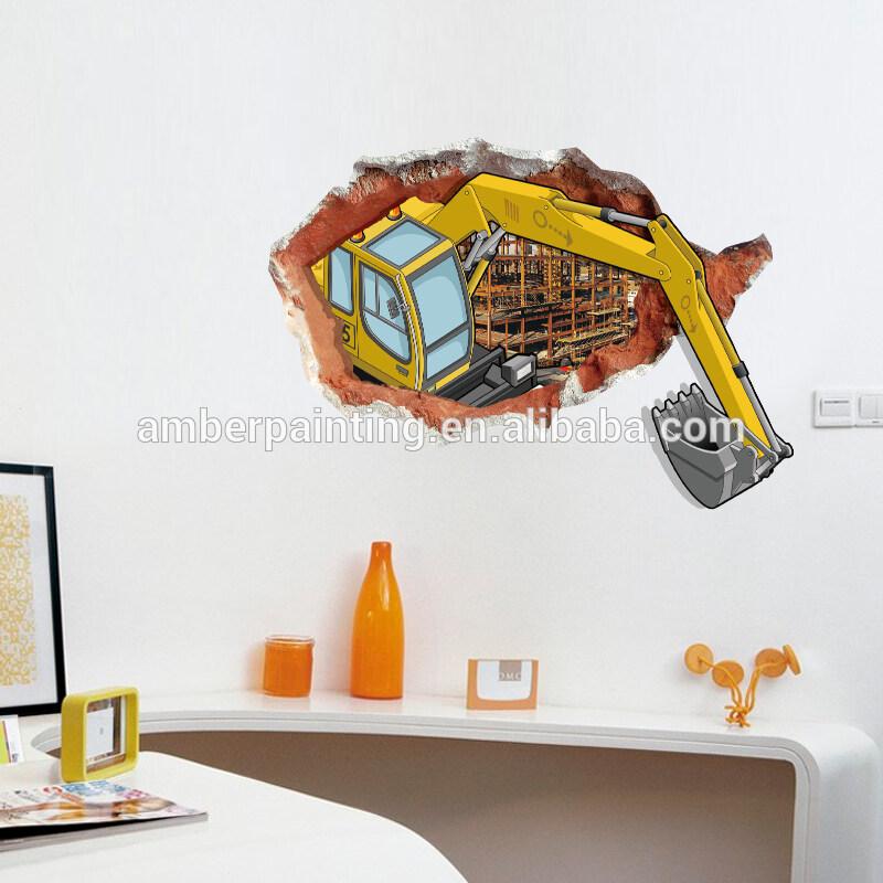 3d boys excavator friends wall decals friends decor wall sticker