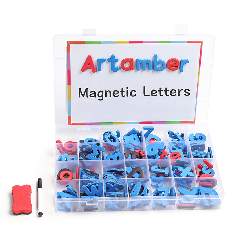 Customized baby educational toy magnetic double sided tracing board with black alphabet letter 208 magnetic letter kit