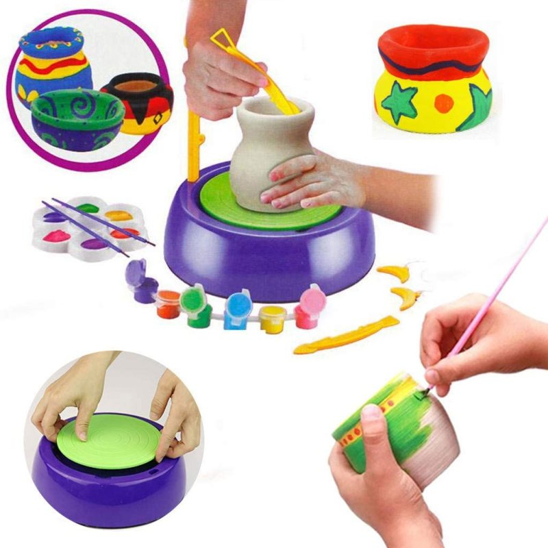 Kids pottery wheel diy craft toy children toys Air Dry Sculpting Clay and Craft Paint kit for Kids